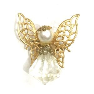 Vintage Gold Tone Pearl Angel Brooch